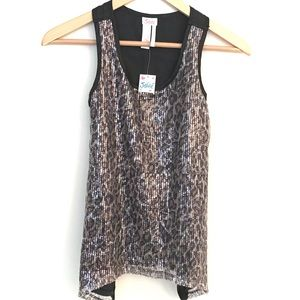 Justice Leopard Sequins Top NWT